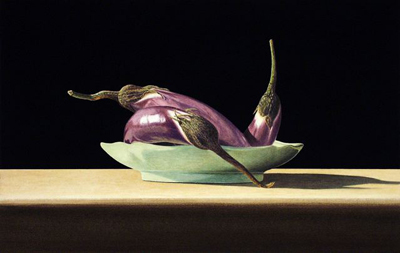 JOHN ARBUCKLE - EGGPLANTS ON CELADON - ARCHIVAL PRINT - 18 X 11.5