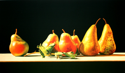 JOHN ARBUCKLE - PEARS & GRAPE LEAVES - ARCHIVAL PRINT - 28 X 16.5