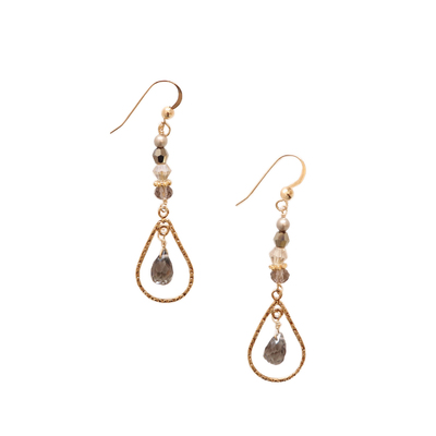 ANNA BALKAN - CARBONITE TEARDROP EARRING - GEMSTONES