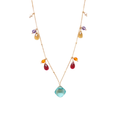 ANNA BALKAN - BLUE FLUORITE W/ MIXED GEMSTON NECKLACE - GEMSTONES