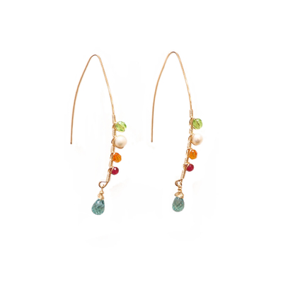 ANNA BALKAN - FLUORITE TEARDROP & MIXED GEMSTONE EARRING - GEMSTONES