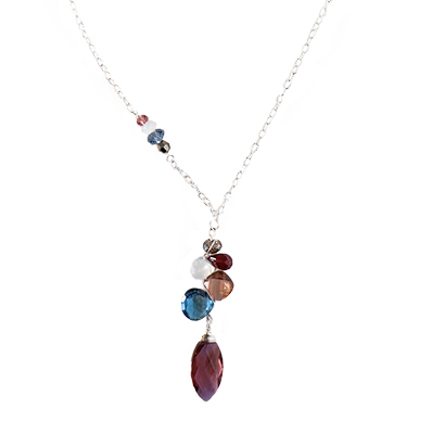 ANNA BALKAN - MARSALA QTZ MARQUEE W/ MIXED GEMSTONE NECKLACE - GEMSTONES