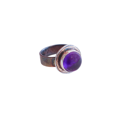 MICHELENE BERKEY - AMETHYST RING WITH 14K ACCENT - SILVER AND GEMSTONE