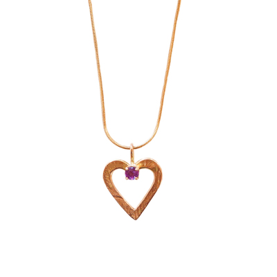 MICHELENE BERKEY - GOLD HEART NECKLACE WITH 14K AMITHYST - STERLING - 18""