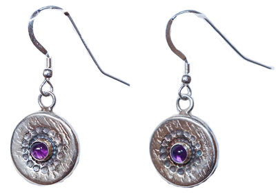 MICHELENE BERKEY - STERLING SILVER TEXTURED COIN EARRINGS WITH AMETHYSTS - STERLING SILVER