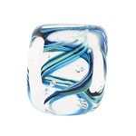 DOTTIE BOSCAMP - SQ TEAL PAPERWEIGHT - GLASS - 2.25 X 2.25 X 2.25