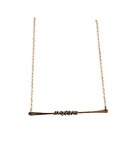 KAREN BOELTS - GOLD BAR NECKLACE W/ STERLING WIRE WRAP - SILVER