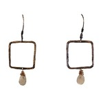 KAREN BOELTS - OXIDIZED SQUARE EARRINGS W/ MOONSTONE & GOLD FILL WIRE WRAP - SILVER