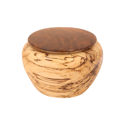 TOM BORUSKY - SPALTED HACKBERRY URN WITH WALNUT LID - WOOD