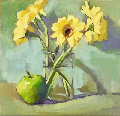 DANA COOPER - YELLOW - OIL ON BOARD - 8 X 8