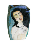 MARIA COUNTS - BLACK HAIRED WOMAN ON BLUE/GREEN VASE - CERAMIC - 8 X 13.75 X 6