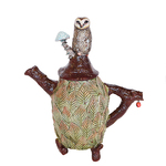 MARIA COUNTS - OWL TEAPOT - CERAMIC - 9 X 11.5 X 4