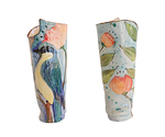 MARIA COUNTS - BLUE BIRD VASE W/ ORANGE FLOWERS - CERAMIC - 5 X 3.25 X 12