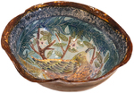 MARIA COUNTS - EXOTIC BIRD BOWL - CERAMIC - 13 X 13 1/2 X 7 1/2