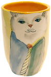 MARIA COUNTS - CHEERFUL WHITE CAT VASE - CERAMIC - 3 1/4 X 3 4 1/2