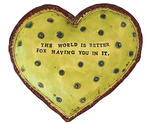 MARIA COUNTS - GREEN HEART WITH POLKA DOTS - CERAMIC - 7.25 X 6.5