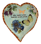 MARIA COUNTS - BLUE HEART WITH FLOWERS & BUTTERFLIES - CERAMIC - 7.5 X 8.5
