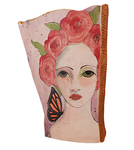 "MARIA COUNTS - ""ROSE"" LADY W/ PINK FLOWERS & MONARCH BUTTERFLY - CERAMIC - 4 X 9.25 X 3.75"