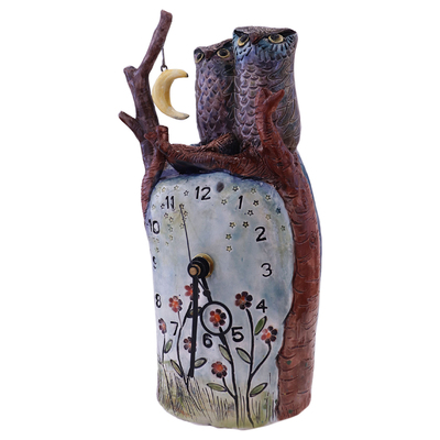 MARIA COUNTS - CLOCK WITH 2 OWLS & YELLOW MOON - CERAMIC - 5 X 9.25 X 3