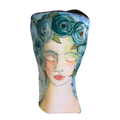MARIA COUNTS - BLUE BELLE VASE - CERAMICS - 9.5 X 6 X 2.5