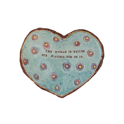 MARIA COUNTS - BLUE QUOTE HEART WITH PURPLE ROSETTES - CERAMICS - 8 X 6 X 1
