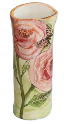 MARIA COUNTS - PINK ROSES & BUTTERFLY VASE - CERAMIC - 6.75 X 2.5 X 2.5