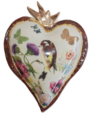 MARIA COUNTS - HEART WITH ROBIN & FLOWERS - CERAMIC - 8.25 X 6 X 1