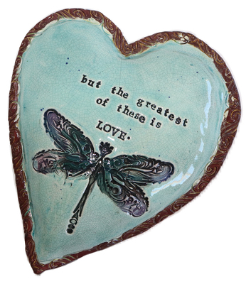 MARIA COUNTS - HEART WITH BLUE DRAGONFLY - CERAMIC - 7 X 5.5 X 1