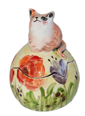 MARIA COUNTS - CHUBBY GINGER CAT EGG BOX - CERAMIC - 5 X 4 X 4