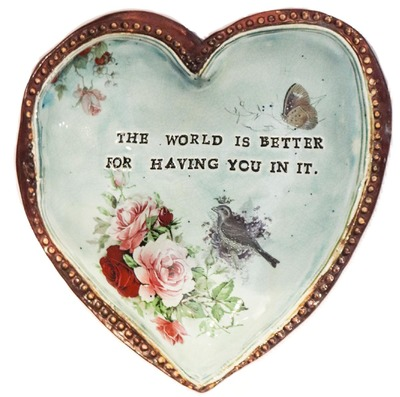 "MARIA COUNTS - LIGHT GREEN HEART ""THE WORLD IS BETTER FOR HAVING YOU IN IT"" - CERAMIC - 7"" X 7 X 1"