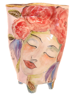 MARIA COUNTS - VASE W/ RED HEADRESS ON WOMAN - CERAMIC - 5 X 6 3/4 X 3 1/4