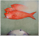 RAUL COLON - RED FISH - WATERCOLOR & PENCIL - 13 X 12