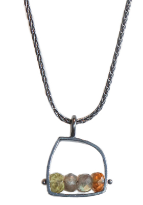 ASHKA DYMEL - SM ABSTRACT LABRADORITE AND HONEY TOURMALINE NECKLACE - GEMSTONE & STERLING SILVER