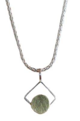 ASHKA DYMEL - SMALL SQ NECKLACE WITH GOLD DOT - STERLING SILVER & GOLD