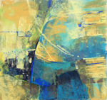 DORI DEWBERRY - TEXTURE IN BLUES AND YELLOWS - PASTEL - 11 X 10.5
