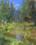 DORI DEWBERRY - FISHING AT OWENS RIVER - PASTEL - 8 x 10