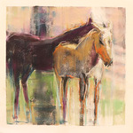 DORI DEWBERRY - PASTURE ETHEREAL - MIXED MEDIA  ON PAPER - 13 X 13