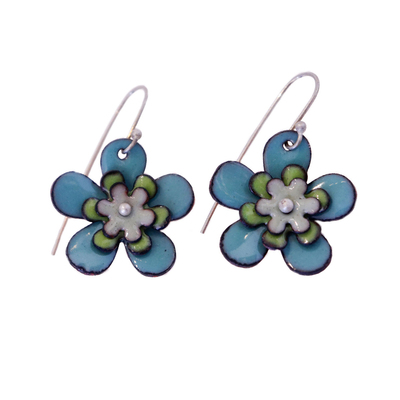 KIRSTEN DENBOW - LG TURQUOISE FLOWER EARRINGS - COPPER & ENAMEL