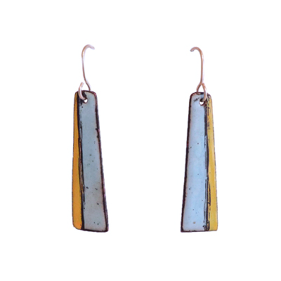 KIRSTEN DENBOW - BLUE/YELLOW LINEAR EARRINGS - COPPER & ENAMEL