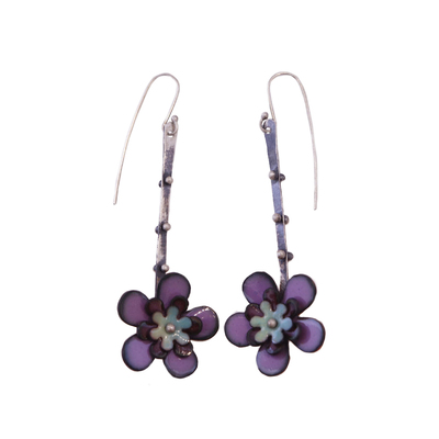 KIRSTEN DENBOW - LARGE PURPLE GREEN FLOWER EARRING - COPPER & ENAMEL