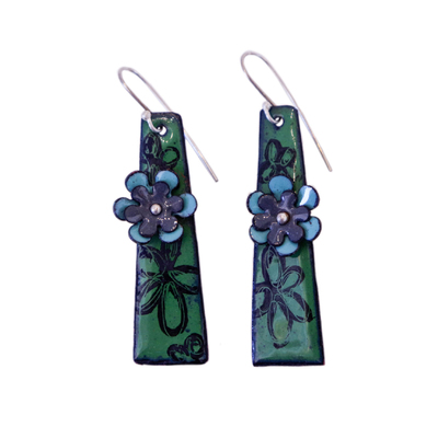 KIRSTEN DENBOW - DARK GREEN RECTANGLE EARRING W/ BLUE FLOWER - COPPER & ENAMEL