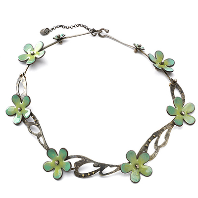 KIRSTEN DENBOW - BLUE/GREEN ENAMEL FLOWERS & SILVER COLLAR NECKLACE - MIXED METAL