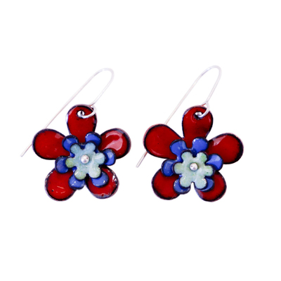 KIRSTEN DENBOW - RED, BLUE, & GREEN TRIPLE LAYER FLOWER EARRING - COPPER & ENAMEL
