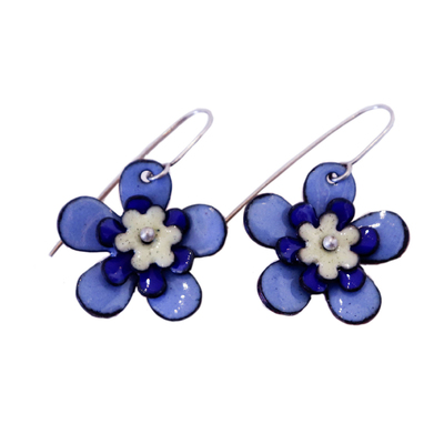 KIRSTEN DENBOW - BLUE AND YELLOW TRIPLE LAYER FLOWER EARRING - COPPER & ENAMEL
