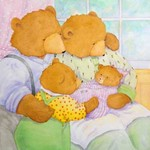 JANE DYER - BEAR FAMILY OF FOUR - WATERCOLOR - 10.5 X 10.5