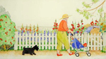 JANE DYER - WOMAN, DOG AND CHILD IN GARDEN - WATERCOLOR - 20.25 x 11.25