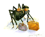 JANE DYER - SOPHIE WITH SUITCASE - WATERCOLOR - 3 x 3