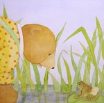 JANE DYER - BEAR & FROG ON LILY PAD - WATERCOLOR - 11 x 11