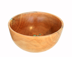 MICHAEL EVANS - FERN PINE BOWL WITH TURQUOISE - WOOD - 12.5 x  12.5 x 6.5