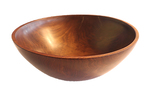 MICHAEL EVANS - WALNUT BOWL, BRASS INLAY - WOOD - 13.5 X 13.75 X 5